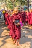 Buddhist novices in Mandalay Stock Photo