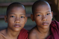 Buddhist novices in Yangon, Myanmar Royalty Free Stock Photography