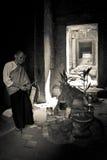 A Buddhist nun of Angkor Wat, Siem Reap, Cambodia stock photography