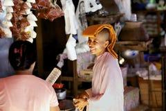 Buddhist Nun Myanmar Royalty Free Stock Images