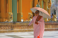 Buddhist Nun in Myanmar Royalty Free Stock Photography