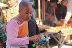 Buddhist Nun in Myanmar. Feb 2015 No model release Editorial use only Stock Photo