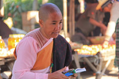 Buddhist Nun in Myanmar. Feb 2015 No model release Editorial use only Royalty Free Stock Photos