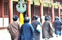 Buddhist nun at temple stock photos
