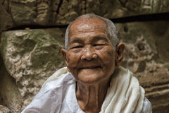 Buddhist nun in temple. Buddhist nun at temple in Angkor Wat, Cambodia Royalty Free Stock Images
