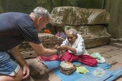 Buddhist nun in temple, Angkor Wat, Cambodia Stock Photo