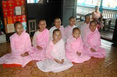 Buddhist nuns in Burma (Myanmar) Royalty Free Stock Images