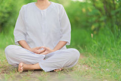 Buddhist Nuns meditation Stock Photo
