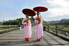 Buddhist nuns Mon. Royalty Free Stock Images