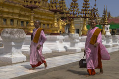 Buddhist nuns in Myanmar Stock Photos