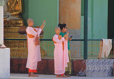 Buddhist Nuns in Myanmar. Feb 2015 No model release Editorial use only Stock Image