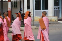 Buddhist Nuns in Myanmar. Feb 2015 No model release Editorial use only Stock Photo