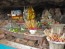 Buddhist offering at Wat Phu Temple royalty free stock images