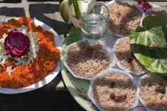 Buddhist Offerings. Buddhist Puja Offerings at the Mahabodhi Temple, Bodhgaya Stock Photo
