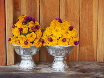 Buddhist offerings. Wreaths bowls tahiland Royalty Free Stock Photos