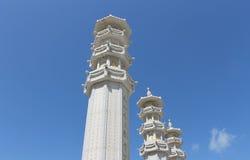 Buddhist pagoda on Hainan island. Scenic view of white towers of Buddhist pagoda on Hainan island, China Stock Images