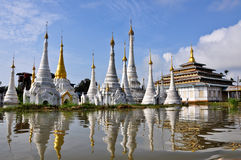A Buddhist pagoda on the lake in Inle, Myanmar Royalty Free Stock Photography