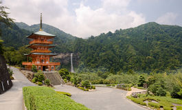 Buddhist pagoda and Nachi falls in Japan Stock Image