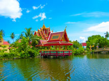 Buddhist Pagoda, Part Of Temple Complex Wat Plai Laem On Samui Island. Thailand Stock Photography