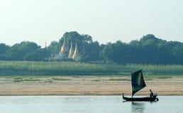 Buddhist pagoda at river Ayeyarwady near Mandalay Stock Photo