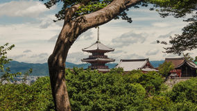 Buddhist pagoda in summer at Kiyomizu temple in Kyoto, Japan Stock Photos