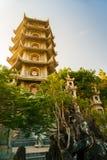 Buddhist pagoda tower, Marble mountains, Danang. Beautiful view of Buddhist pagoda tower in warm sunset light, Marble mountains, Danang, Vietnam Stock Image