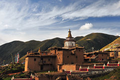 Buddhist pagodas. In qujie monastery in tibet Royalty Free Stock Image