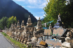 Buddhist pagodas by the road Stock Image