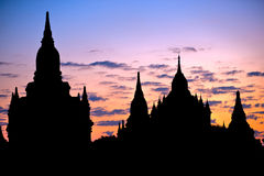 Buddhist Pagodas at sunrise, Bagan, Myanmar Stock Photo