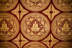 Buddhist painting. The pattern of Buddhist painting on the ceiling in temple, Myanmar Royalty Free Stock Images