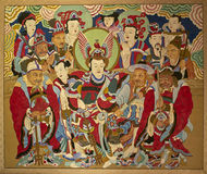 Buddhist painting in Pohyon temple North Korea. Buddhist painting in the 11th century Buddhist temple complex of Pohyon, Hyangsan county, Myohyang mountains, in Royalty Free Stock Image