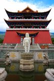 The Buddhist pavilion and Little Buddha statue in Chongshen monastery. Royalty Free Stock Photography