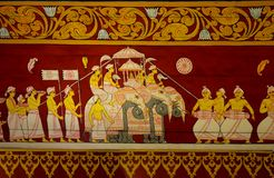 Buddhist Pictorial Painting of Royal Elephants. A colorful painting on the ceiling of the Entry to the Temple of the Tooth in Kandy Sri Lanka depicting an royalty free stock photos