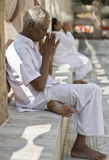 Buddhist Pilgrim praying at the Mahabodi Temple Stock Photography