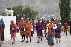 Buddhist pilgrims, Thimphu, Bhutan Stock Photos