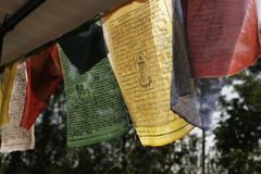Buddhist prayer flags. Colorful against sky Stock Image