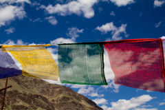 Buddhist prayer flags. Against a beautiful background in Zanskar royalty free stock images