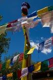 Buddhist prayer flags. Against a beautiful background in Zanskar stock photos