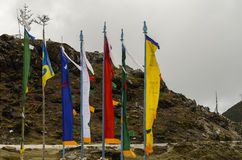 Buddhist Prayer flags. Beautiful color prayer flags fluttering stock photography
