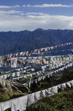 Buddhist prayer flags fluttering in the mountain Royalty Free Stock Photography