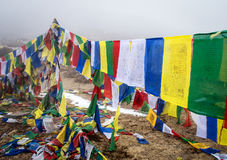 Buddhist prayer flags in the Himalaya mountains Royalty Free Stock Photos