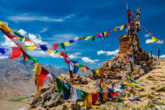 Buddhist prayer flags in Himalayas Royalty Free Stock Photography