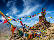 Buddhist prayer flags in Himalayas Royalty Free Stock Images