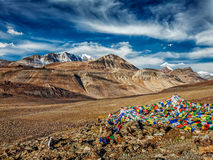 Buddhist prayer flags in Himalayas Royalty Free Stock Photo