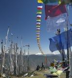 Buddhist Prayer Flags - Kingdom of Bhutan. Buddhist prayer flags on Chelela Peak, high in the Himalayas in the Kingdom of Bhutan. (Altitude 3988m Royalty Free Stock Photo