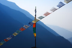 Buddhist prayer flags Lung-ta in the Himalayas. Nepal. Roun Annapurna Track Stock Photo