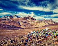 Buddhist prayer flags lungta at mountain pass in Himalayas Royalty Free Stock Photo