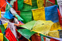 Buddhist prayer flags lungta with prayers, Ladakh Stock Images