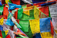 Buddhist prayer flags lungta with prayers, Ladakh Royalty Free Stock Images