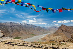Buddhist prayer flags lungta in Spiti valley Stock Photos